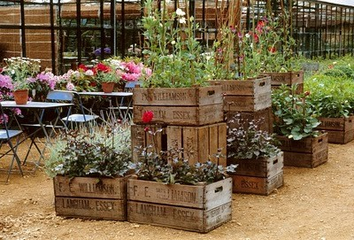 container garden - wood crate garden - wood crate planter - garden ideas - garden - garden design - DIY - crafts via pinterest
