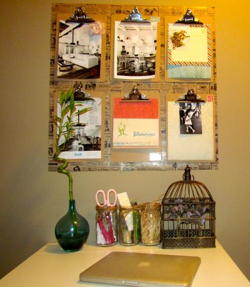 DIY: dekoracja na ścianę z podkładek z klipsem