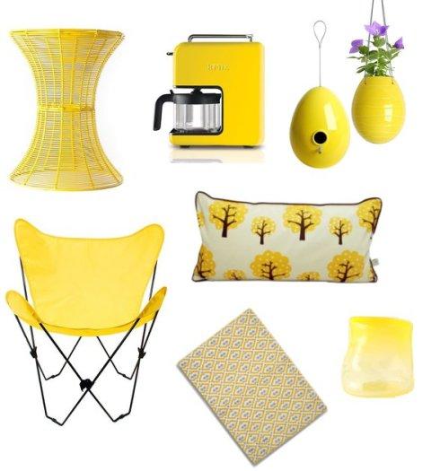 żółte dodatki do pokoju