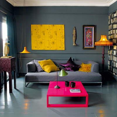 yellow room with pink table