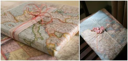 prezenty pakowane w mapy