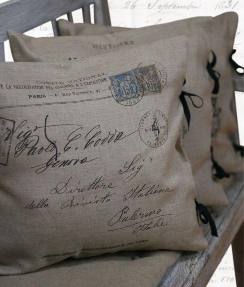 75 poduszka z nadrukiem francuskiej pocztówki